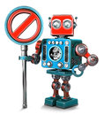 Retro Robot with NO ENTRY sign. Isolated. Contains clipping path Royalty Free Stock Photo