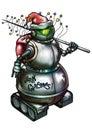 Retro Robot Santa Claus snowman with electro christmas tree