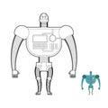 Retro Robot Warrior coloring book. Toy for boys. Space robot, an