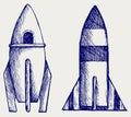 Retro rocket. Doodle style Royalty Free Stock Photo