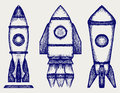 Retro rocket doodle style vector illustration Royalty Free Stock Images