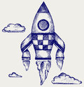 Retro rocket illustration doodle style Stock Photography