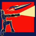 Retro rocket power label with an armoured marine and a space ship Stock Photos