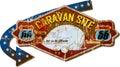 Retro route 66 caravan park sign