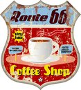 Retro route coffee shop sign vector eps Stock Images