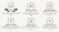 Retro Royal Vintage Shields Logotype set. Vector calligraphyc Luxury logo design elements. Business signs, logos