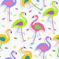 Retro s flamingo pattern background vintage fashion style seamless illustration ideal for fabric design paper print and website Royalty Free Stock Photography