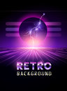 Retro 1980`s neon horizon background Royalty Free Stock Photo