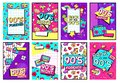 Retro 90s poster. Nineties forever, funky 1990s music night party posters and pop flyer card vector set Royalty Free Stock Photo