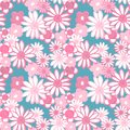 Retro 60s style pattern. Pink and red hand painted daisy flowers on pale blue background. Bohemian vintage print. Flower power Royalty Free Stock Photo