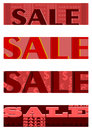 Retro sales half banners set banner in shades of red proportion of dimensions is Royalty Free Stock Image