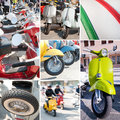 stock image of  Retro scooters collage