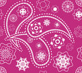 Retro seamless indian pink paisley vector pattern Stock Photo