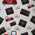 Retro seamless patter design pattern with television cassette and jeep Royalty Free Stock Photos