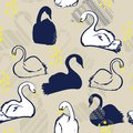 Retro Seamless pattern with blue and white swan princess. Creative hand drawn style on beige background. Perfect for all prints Royalty Free Stock Photo