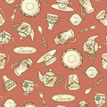 Retro seamless pattern with dishware Stock Photography