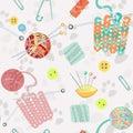 Retro seamless pattern hand drawn knitting accessories vector illustration Stock Image