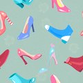 Retro seamless pattern with shoes lady accessories and footwear Royalty Free Stock Images
