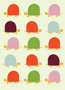 Retro seamless pattern with turtles Royalty Free Stock Photos