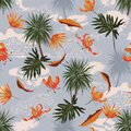 Retro seamless tropical island pattern on light blue ocean background. Landscape with palm trees,beach, waves ,ocean vector hand Royalty Free Stock Photo