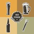 Retro set with beer elements for logo design. Vector illustration.