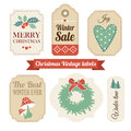 Retro set of christmas vintage gift, sale labels,tags Royalty Free Stock Photo