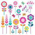 Retro set of flowers in spring colors isolated pretty with butterflies isolated on white clipping path available on maximum sizes Stock Photography