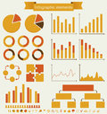 Retro set of infographic elements infographics charts graphs and icons vintage details for presentation and design vector Stock Photography