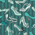 Retro shoes seamless pattern blue background Stock Photography