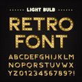 Retro sign alphabet. Vintage light bulb type letters and numbers. Signboard font.