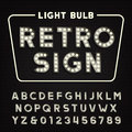 Retro sign alphabet. Vintage light bulb type letters and numbers.