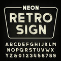 Retro sign alphabet. Vintage neon tube type letters and numbers. Royalty Free Stock Photo