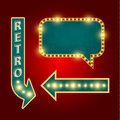 Retro sign with realistic lamps
