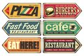 Vintage sign posts set for cafe, pizza, burger and fast food restaurant