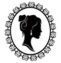 Retro silhouette profile of a young girl in diaper frame Royalty Free Stock Photo