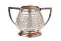 Retro silver sugar bowl, isolated Royalty Free Stock Photo