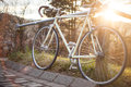 Retro single speed race bike in sunlight at fence Stock Photo