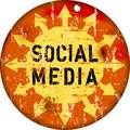 Retro social media sign grungy vector illustration Royalty Free Stock Photo