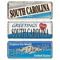 Vintage Tin Sign With America State South Carolina Retro Souvenir Or Postcard Template On Rust Background.