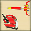 Retro space message illustration with a rocket and a spaceman helmet Stock Photos