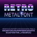 Retro space metal vector font. Metallica futuristic chrome letters and numbers in 80s vintage style