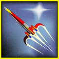 Retro space rocket background with a comic book spaceship Stock Photography