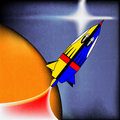 Retro space rocket background with a comic book spaceship Royalty Free Stock Images