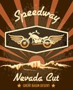 Retro speedway nevada cut graphic design emphasizing motorcycle with wings on brown background Royalty Free Stock Photo