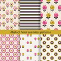 Abstract floral seamless pattern set Royalty Free Stock Photo