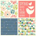 Retro Spring designs and seamless patterns Royalty Free Stock Photo
