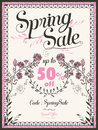 Retro spring sale poster design Royalty Free Stock Photo