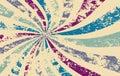 Retro starburst or sunburst background vector pattern with a vintage distressed textur