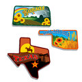 Retro state shape illustrations of kansas oklahom oklahoma and texas and their featured attractions Stock Images