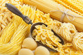 Retro still life with assortment of uncooked pasta italian Royalty Free Stock Photography
